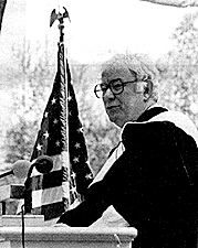Seamus Heaney is pictured speaking at Colgate's commencement in 1994.