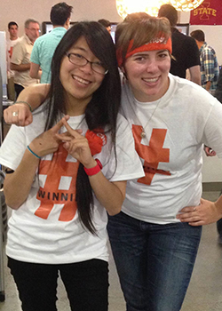 Jess Halter '13 (right) having fun on the job while promoting Chegg.