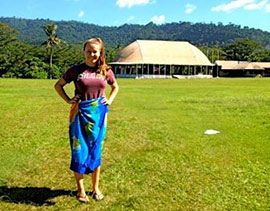 Katie Williams '15, celebrated Colgate Day in Samoa.