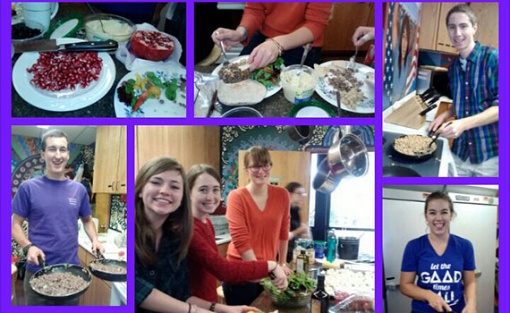 Colgate students gather to make Mediterranean food as a primer to an upcoming Jerusalem trip.