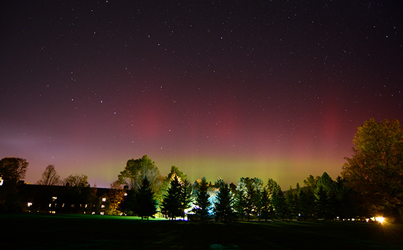 Professor Tom Balonek photographed the aurora borealis Tuesday night on campus.