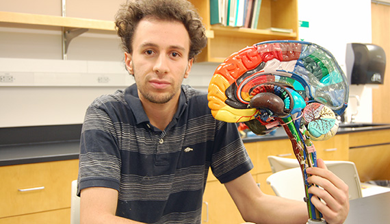 Casey Sherman '14 is studying how we process memories. (Photo by Natalie Sportelli '15)