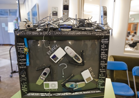 E-waste sculpture, by Leslie Strobel '10 and Jesse Chang '12.