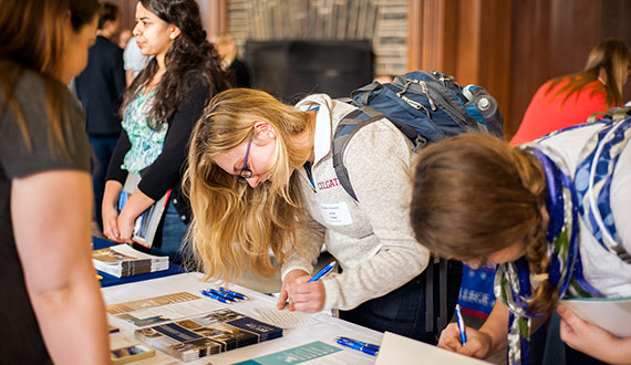 Students attend the 16th annual Law School Fair held in the Hall of Presidents.