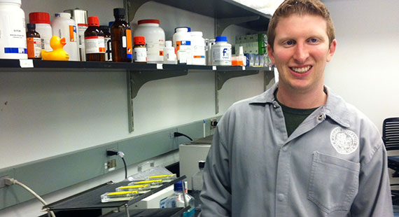 Molecular biology major Brandon Fiegoli, of Bedford, NY.