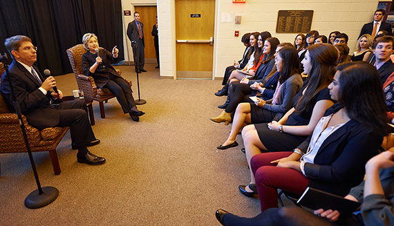 Colgate Provost Doug Hicks helped lead a discussion between Hillary Rodham Clinton and students before the former secretary of state's public lecture October 25. The conversation continued at a brown bag event on Tuesday.