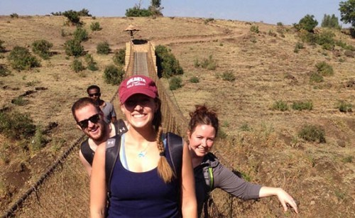 Kelsey Jensen '14 (center) with fellow Colgate students Josh Hair '14 and Mabel Baez '15, traveled to Ethiopia during winter break.