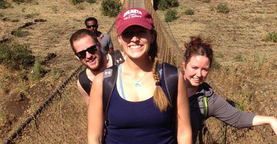 Kelsey Jensen '14 (center), with Josh Hair '14 and Professor Carrie Woods, traveled to Ethiopia during winter break.