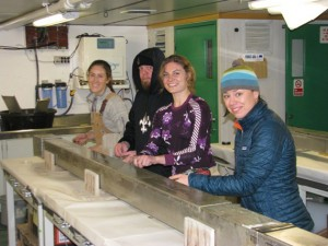 A truly interdisciplinary approach: Kara Vadman '14 (far left), Mikhaila Redovian '15 (second from right), geologic oceanography professor Amelia Shevenell from the University of South Florida, and cook Mike Bowen tackle a Kasten core together.