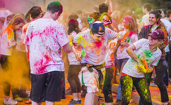 Colgate students celebrate Holi, the Hindu festival of colors on April 5, 2014