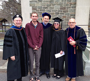 (Left to right) Jeff Spires, Phi Eta Sigma Teaching Award recipient, Evan Chartier '14, 1819 Award winner,  Meika Loe, WMST department chair, Chris Senke, SOAN chair, and Ken Valente, division director for university studies.