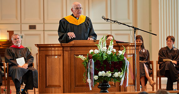 Father George Coyne SJ speaks at Memorial Chapel on Saturday, May 17. (Photo by Andy Daddio)