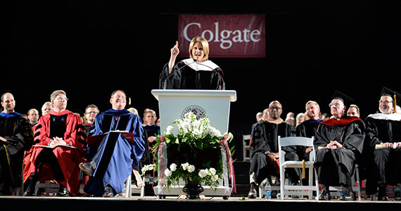 Gloria Borger '74, P'10, chief political analyst for CNN and a member of the first coeducational class to graduate from Colgate, delivers the keynote address. (Photo by Andy Daddio)