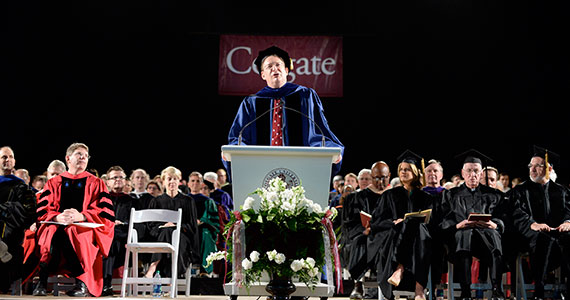 Colgate President Jeffrey Herbst addresses the Class of 2014 at Sanford Field House.