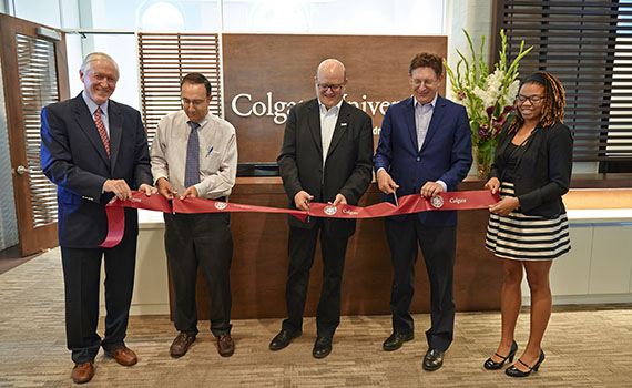 (From left) Denis F. Cronin '69, P'09, '10, board of trustees chairman, Gary Ross, vice president and dean of admission, Dan Hurwitz '86, trustee and lead donor, Jeffrey Herbst, president, and Kori Strother '15, cut a ribbon during the June 6 dedication of The Hurwitz Admission Center.