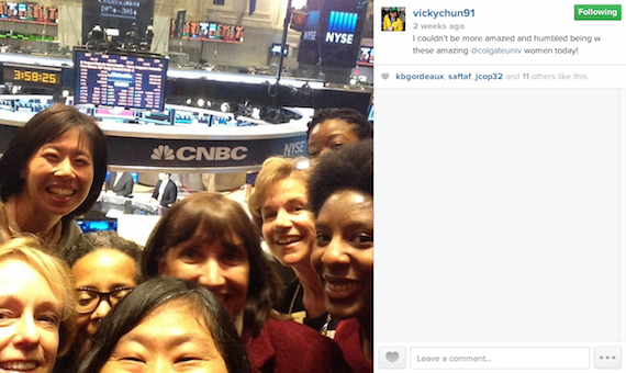 Vicky Chun '91, MA '94 Colgate Athletic Director takes a selfie at the New York Stock Exchange