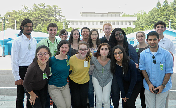 Hannah O'Malley '17 (first row, fourth from left) and the Benton Scholars in Korea's Demilitarized Zone.