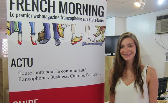 Jessica Capwell '16 in French Morning's New York office.