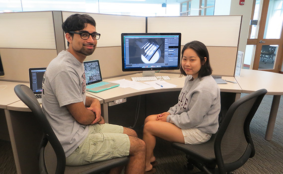 Eli Goberdon '16 and Junghyun Seo '16 worked with Professor Elodie Fourquet on a project to improve lighting in 3D environments.