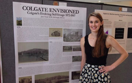 Jane Trask's summer research project was titled Colgate Envisioned, studying the university's past in order to inform the future.