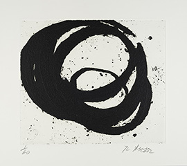 Richard Serra,VeniceNotebook 2001, #7, 2002. 1-color etching. Collection of Paul J.  Schupf '58 Living Trust, Gregory O.Koerner '88, Trustee.© 2014 Richard Serra/Artists Rights Society(ARS),New York. Photo by Mark Williams