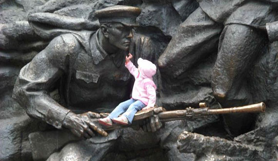 Soldier and Child, Soldier and Child at the Museum of the Great Patriotic War, Kiev. (Photo by André Simonyi)