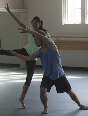 Colgate University students dance to kickoff the opening of a new studio