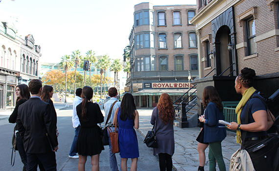 Students on a FOX television set in L.A.
