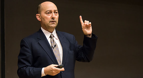Retired Admiral James Stavridis speaks at Love Auditorium.