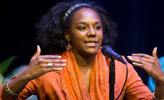 Bree Newsome, activist, filmmaker, and musician, visited Colgate at the end of September. She's pictured here at Spelman College's celebration of art and activism.