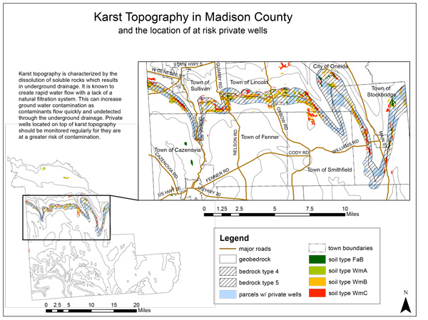 A GIS map of karst topography in Madison County, N.Y.