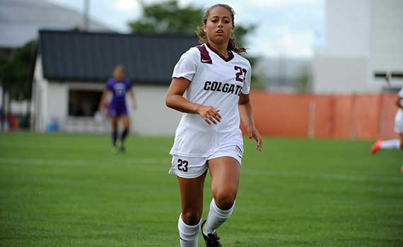 Sarah Coy '17 playing soccer