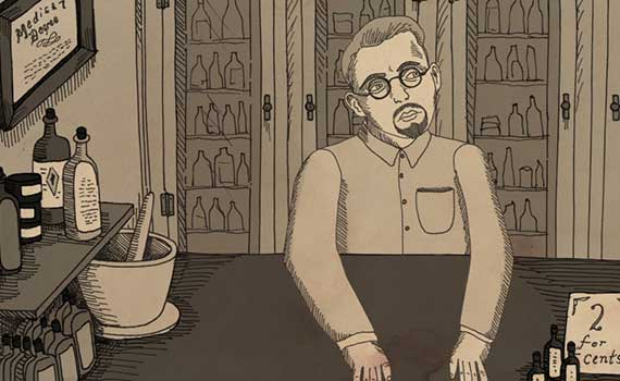 animation from the movie NUTS! showing Dr. John Romulus Brinkley, an eccentric genius who built an empire in Depression-era America with a goat testicle impotence cure