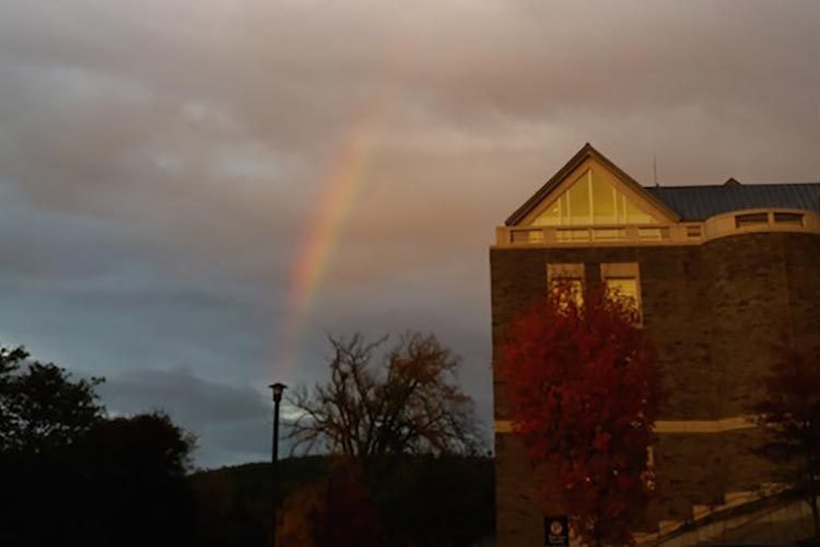 Shot of a Colgate building with a rainbow.