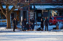 ctor Michael Shannon prepares for a scene in the filming of Pottersville in Hamilton, N.Y., in January