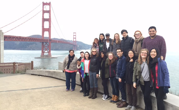 Members of the fall 2015 Sophomore Residential Seminar course Immigrant and Sexual Cultures on location in San Francisco in front of the Golden Gate Bridge