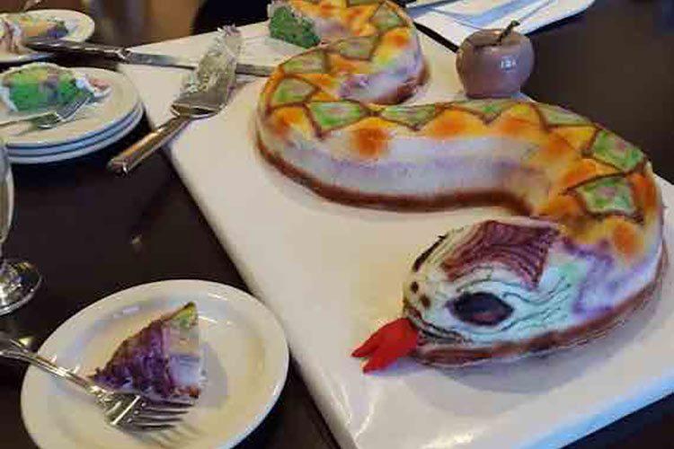 A cake shaped like a snake