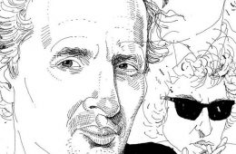 Illustration of Professor Peter Balakian and Bob Dylan in the background.