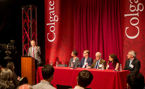 Panelists on stage discussing the changing media landscape with Jeff Fager '77, executive producer of 60 Minutes.