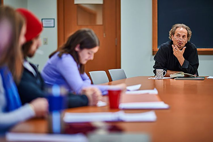 Professor Peter Balakian teaches a class