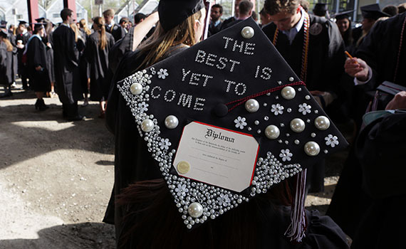 "Picture of graduation cap reading ""The best is yet to come."""