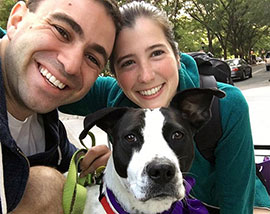 Portrait of Jessica Blank, Adam Weisbarth, and their rescue dog