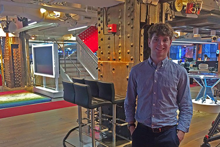 Benji Geisler '18 at NBC News Group headquarters in New York City.