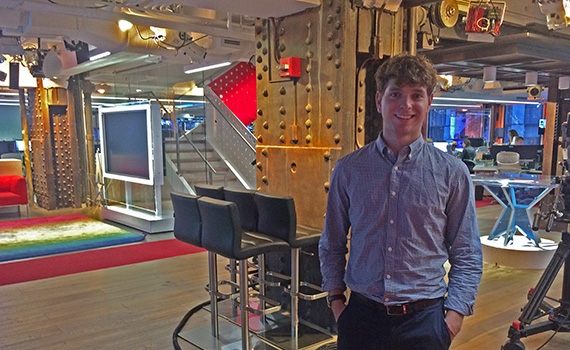 Beni Geisler '18 at NBC News Group headquarters in New York City.