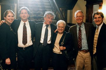 Elie Wiesel visiting Colgate in 1998 with Dean and Provost Jane Pinchin, Balakian, Wiesel, Miriam Grabois and President Neil Grabois, Director of Jewish Studies Steven Kepnes.
