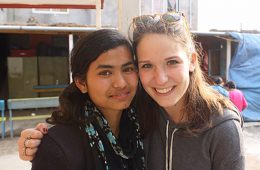 Tenth-grade student Radha and Amanda Brown '15 in Nepal.