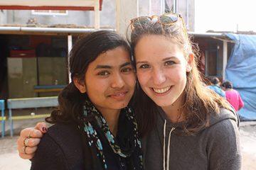 Tenth-grade student Radha and Amanda Brown '15 in Nepal.