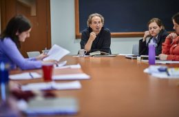 Peter Balakian teaches an advanced writing class at Colgate.