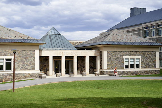 A photo of Colgate's Olin Hall, were Rebecca Shiner is based