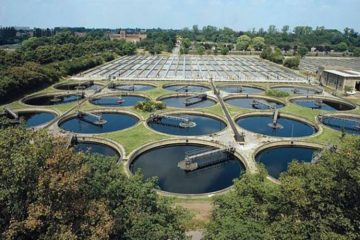A wastewater treatment plant.